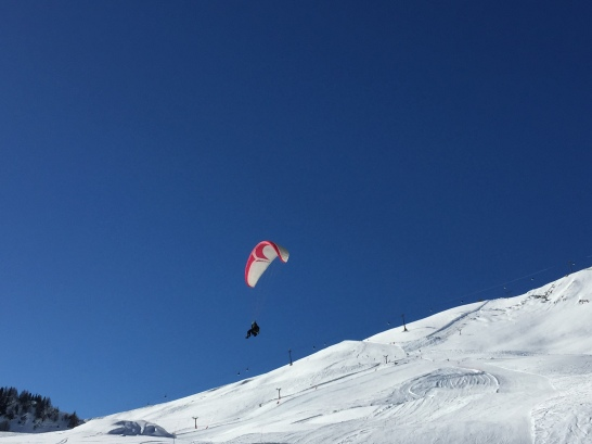 Paragliding on skis