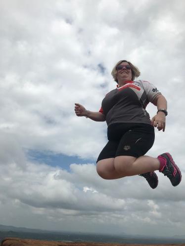 Celebrating my mammoth climb to the top of Sirigiya