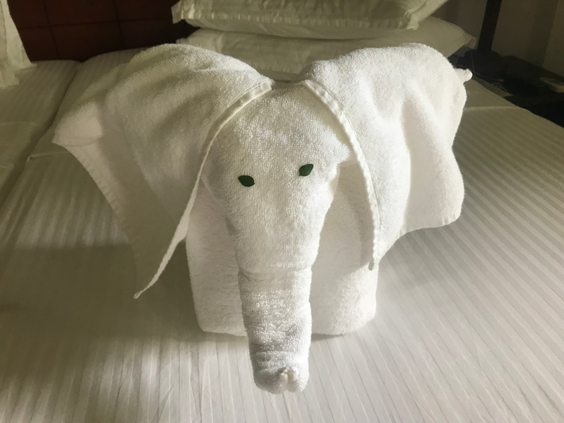 Elephant towel sculpture