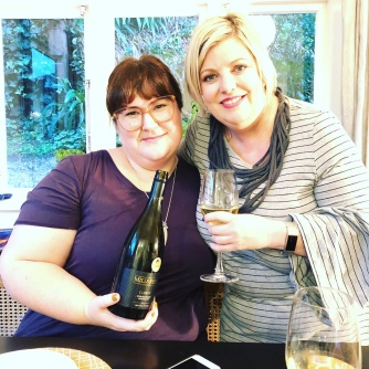 Me and Caro with her wine - Mills Reef Chardonnay 2013