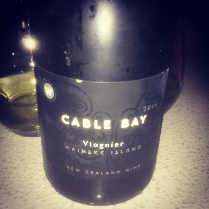White wine number 1 - Cable Bay Viognier 2014, drunk at home with friends