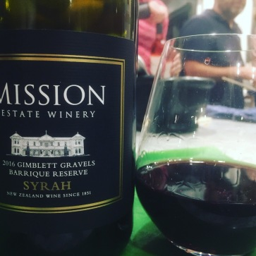 Red wine number 1 - Mission Estate Syrah 2016 - drunk at dinner with friends in Titirangi