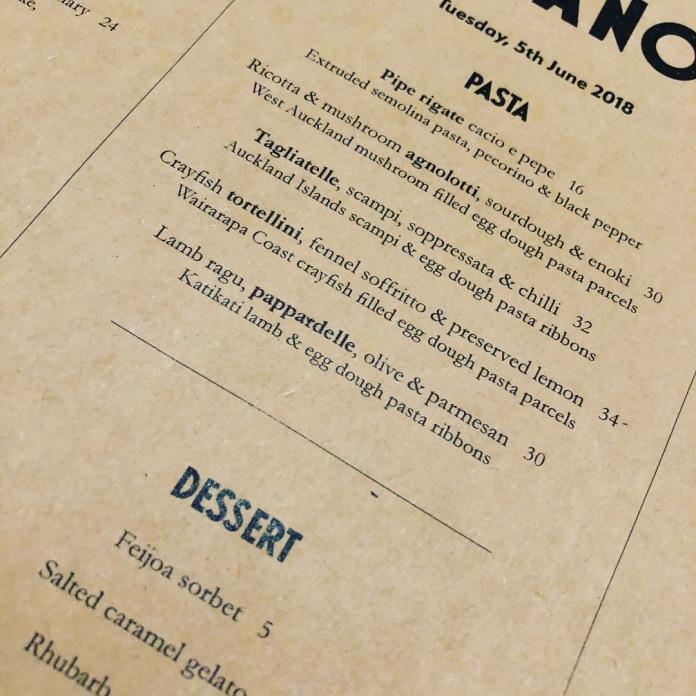 Amano menu