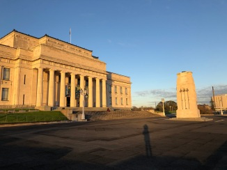 Auckland Museum at sunrise with me in the foreground in silhouette!
